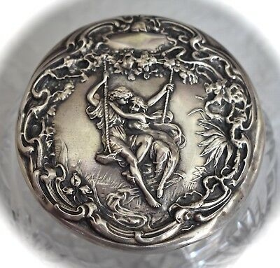 Rare! F&B Antique FOSTER & BAILEY Paul & Virginia Sterling Repousse VANITY JAR