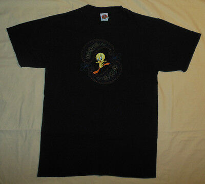 Vtg 1998 Looney Tunes Jerry Leigh Tweety Bird T Shirt Mens M Stitched Abstract
