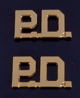 "P.D. Gold 1/2"" Letters Pair Collar Pins Rank Insignia police PD"