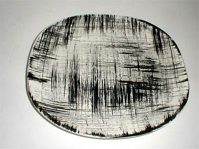 "Edwin Knowles Mid Century Modern Black White EBONETTE 14"" Rectangle Platter"