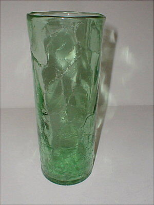 "Green Crackle Glass Hand Blown 10"" Tall Flower Vase"