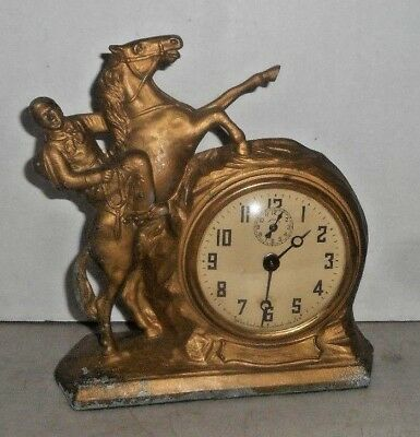 ANTIQUE LUX Mfg Waterbury LONE RANGER on SILVER IRON MANTLE CLOCK +ALARM WORKING