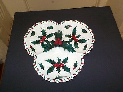 """Lefton  Holly Candy Cane pattern 3 PART CANDY CANDY DISH &  A  9"""" PLATE"""