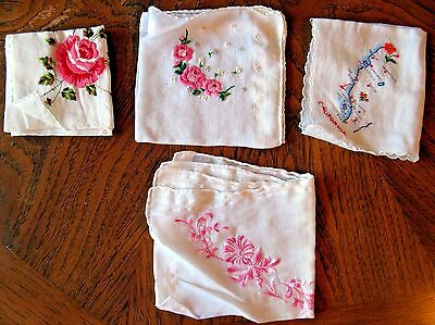 Lot of 4 Vintage Hankies Handkerchiefs Assorted Floral White   B9