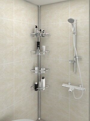 Lifewit Tension Shower Caddy 4 Tier Adjustable Bathroom Constant Corner Pole