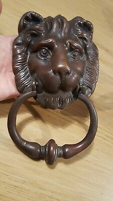 Lovely old Vintage brass/bronze lion head door knocker