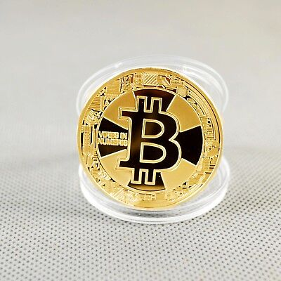 Hot!1x Gold Plated Commemorative Bitcoin Collectible Golden Iron Miner Coin XN15