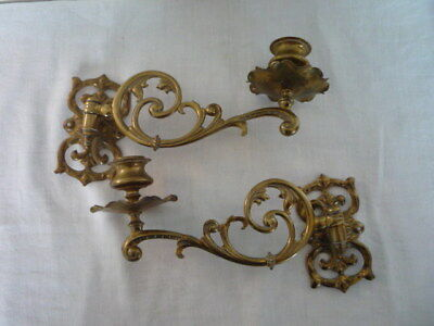 Pair Vintage Decorative Brass Candlestick Holder Wall Sconce Piano Rd 184821