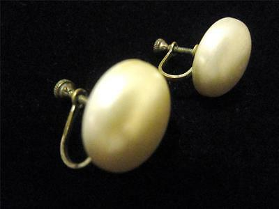 Vintage Retro Round Button Off White/ Cream Pearl Screw Back Earrings Brass Back
