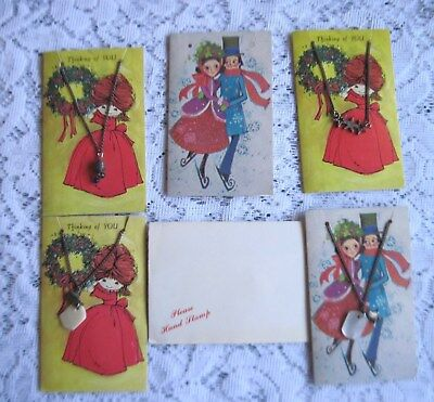 Small Vintage Lot of 5 Kids Xmas Cards w/Jewelry Attached~Unused w/Envelopes
