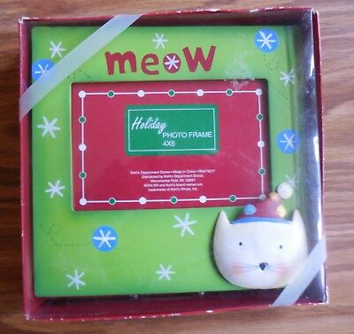 "Kitty Cat Holiday Metal 7-1/2"" Square  Photo Frame ~ Kohl's Holiday Christmas"