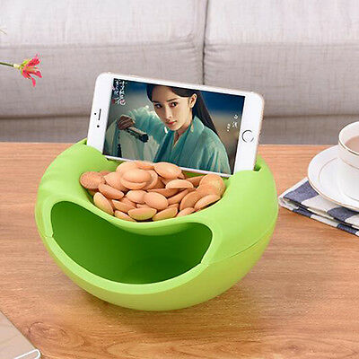 Multifunction Small Double Layer Fruit Dish Snack Plates Storage Box Trash Can@