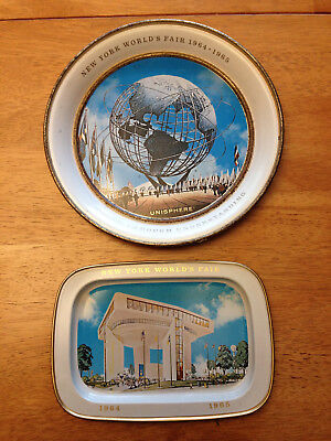New York 1964-65 World's Fair Set of 2 Metal Trays Unisphere and Heliport |