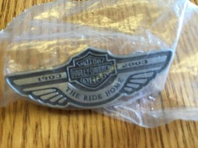 New HARLEY-DAVIDSON 100th ANNIVERSARY THE RIDE HOME - 1903 - 2003 PIN BACK