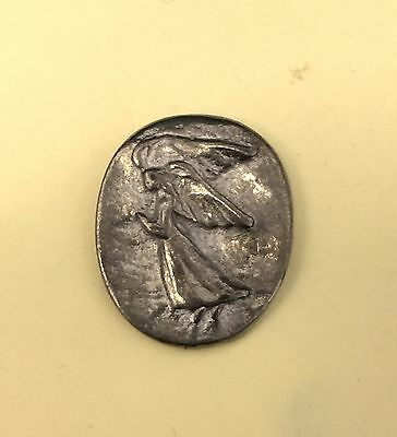 Angel Spirituality Pocket Coin Charm Silver Antique Finish Good Luck God Gift