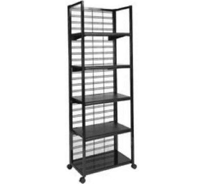 "Store Display Fixtures NEW 72""H 5-SHELF OUTPOST MERCHANDISER WHITE ON ROLLERS"