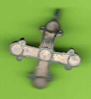 Russia Kiev type Bronze Enamel Cross Pendant Viking time 10-12th ca 1100 AD 140