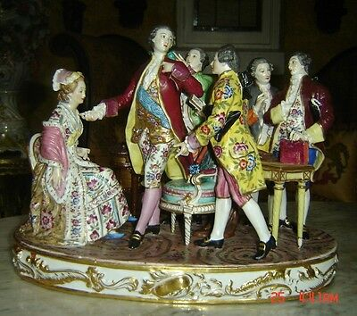 Antique French Edme Samson Porcelain Paris Large Family Group Figure Museum Pc