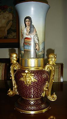 Antique Egyptian Revival Orientalist Royal Vienna Vase & Corinthian Column Base.