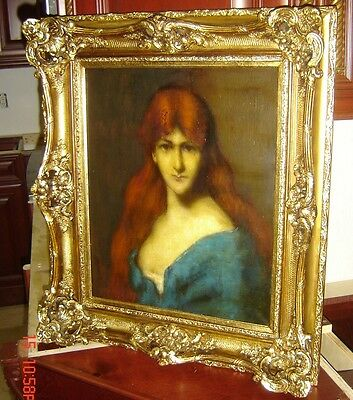 Antique French Lady Portrait Oil Painting Jacques Henner Atrib C.1860 Superb