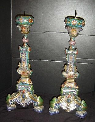 Antique Chinese Qing Huge Pair of Cloisonne Temple Candle Holders Candlesticks.