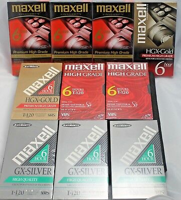 Lot of 10 VHS Blank Video Tape Maxell High Quality Grade Premium Gold New T-120