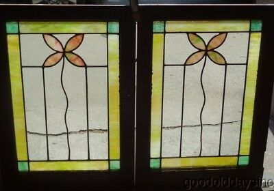 "Pair of 1920's Chicago Stained Leaded Glass Windows / Doors 17 1/2"" x 25"""