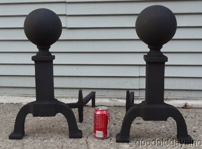 Large, Heavy Pair of Iron Cannonball Andirons - Antique Fire Dogs - Excellent
