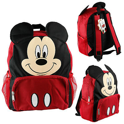 """Disney Mickey Mouse 12"""" Toddler School Backpack Canvas Book Bag w/Molded Face"""