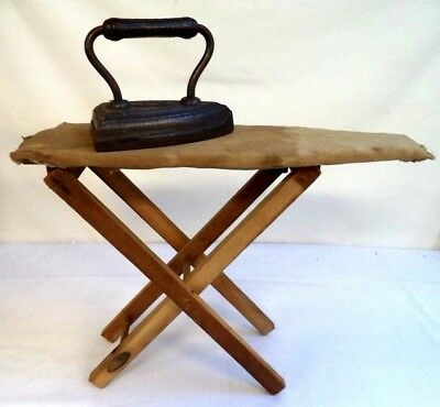 *awesome* Antique Child's Cast Iron Clothes Ironing Board Salesman's Sample B115
