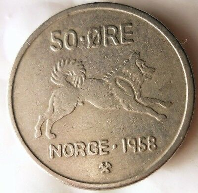 1958 NORWAY 50 ORE - ELKHOUND SERIES - Excellent - FREE SHIPPING - Norway Bin A