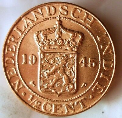 1945 Netherlands East Indies 1/2 Cent - Au/unc Red - Free Ship - Bin #ggg