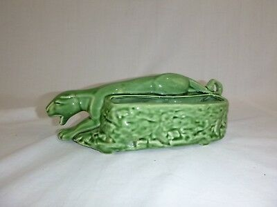 """Vtg Mid Century Green Ceramic Panther Planter Cameron Clay 9.5"""" Long"""