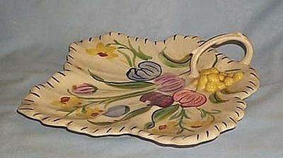 Blue ridge China Easter Parade handled leaf relish dish
