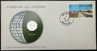 Coins of all Nations Series - 1973 Mauritania 1/5 Ouguiya, Coin & Stamp Set - BU