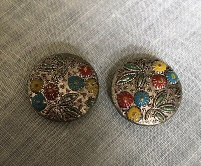"""Vintage 2 Metal Old Painted 3/4"""" Matching Set Buttons Button Lot 21-13"""