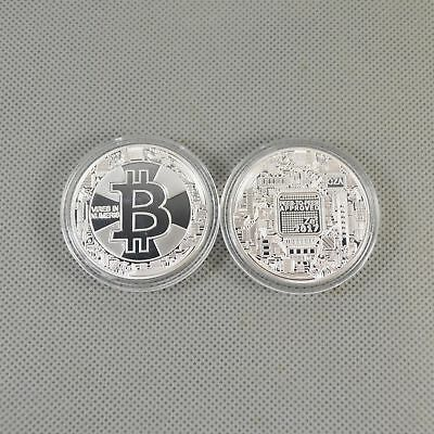 2018 Silver Plated Commemorative Bitcoin Collectible Golden Iron Miner Coins NEW