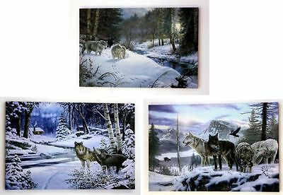 3 WOLF LED  WALL PLAQUES COTTAGE DECOR  16X 24 in. nature wild animal NEW B-OP
