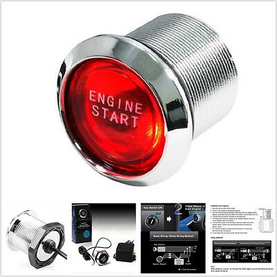 Car Convenient One button start Launch Ignition Push Button Key Switch Red LED