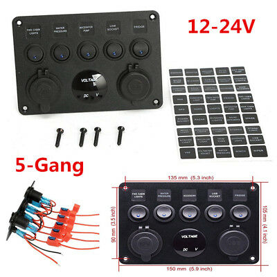 12-24V 5-Gang ON-OFF Toggle Switch Multi-Function Panel For Car Marine RV Truck