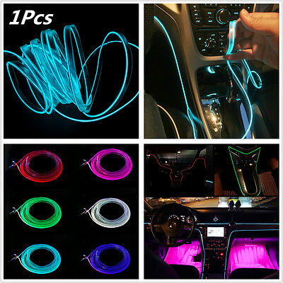 RGB Car Interior Neon EL Strip Light Rope Tube Sound Bluetooth Phone APP Control