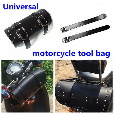 1Pcs Black Motorcycle PU leather Tool Bag Handlebar Bag Outdoor Tool Saddle Bag
