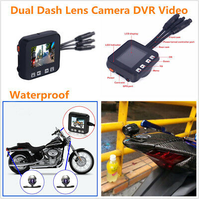 "2"" 720P HD Motorcycle Sports Action Dual Dash Lens Camera DVR Video Recorder Kit"