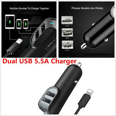 Universal Double 2USB Port 5.5A Car Quick Charger Adapter For iPhone 5S 6 Plus