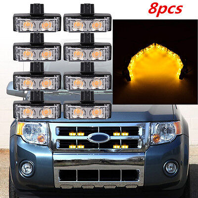 Amber 8pcs 2LED Car Front Grille Strobe Light Bar Emergency Warning Hazard Lamp