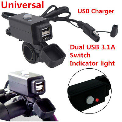Waterproof 3.1A Motorcycle SAE Dual USB Charger With Switch LED Indicator Light