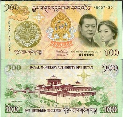 Bhutan 100 Ngultrum 2011 Comm. Wedding P 35 Unc No Folder