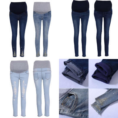 Women Pregnant Trousers Maternity Belly Pregnancy Jeans Blend Cotton Adjustable
