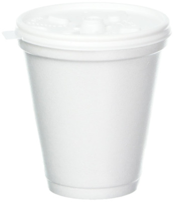 Dart 8 Oz White Disposable Coffee Foam Cups Hot and Cold Drink Cup-Pk 100 w/ lid