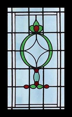 Glorious Art Deco Emerald & Red English Stained Glass Window With Occluded Glass